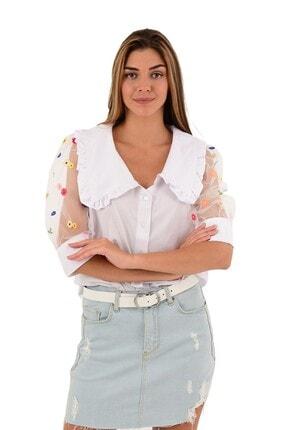 Modagusto Kadın Kolları Tül Bebe Yaka Beyaz Gömlek