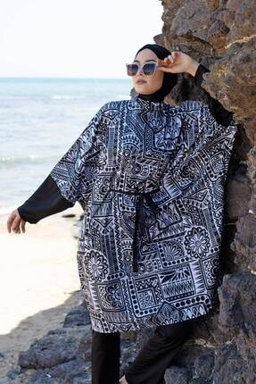 Marina Salaş Model Tasarım Tam Kapalı Tesettür Mayo 1992 Siyah