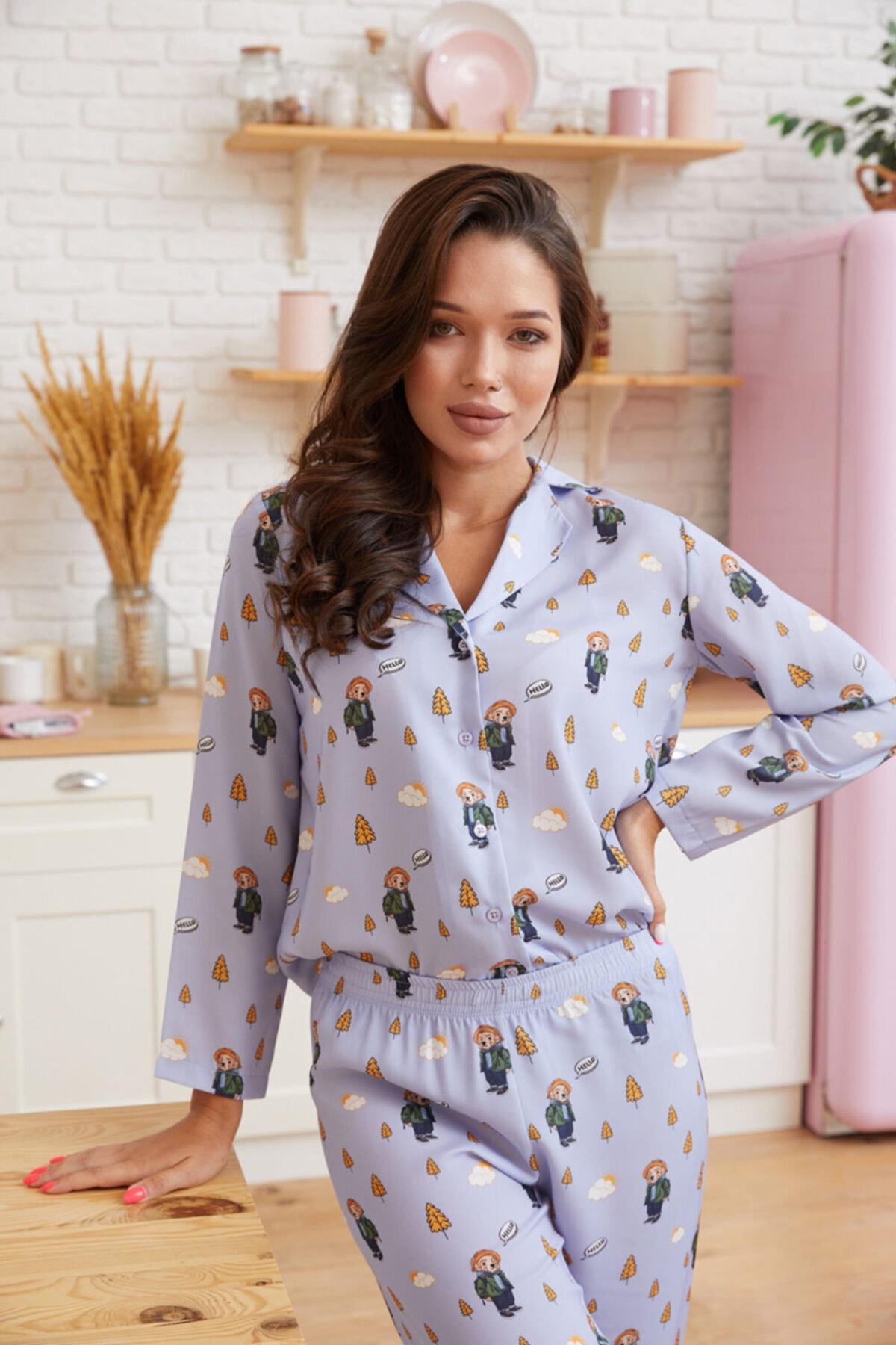 Katia&Bony Hello Camping Teddy Bear Baskılı Ipek Saten Apreli Kadın Pijama Takımı - Lila 1