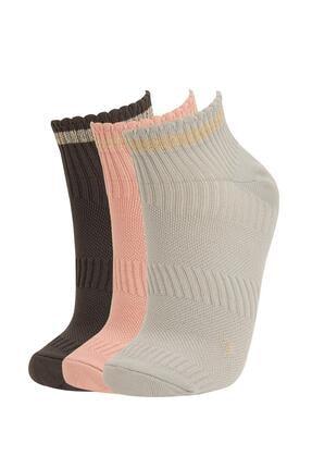 DeFacto Kadın Çok Renkli Patik Çorap 3'Lü T7378AZ21AUKR