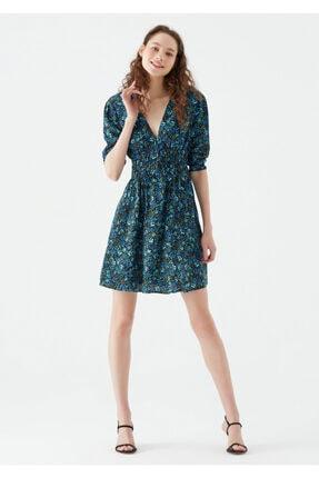 Mavi Çiçek Baskılı Mini Elbise 131133-35271