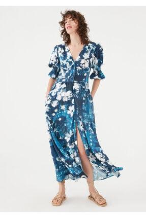 Mavi Çiçek Baskılı Elbise 131141-35348