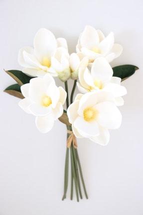 Yapay Çiçek Deposu Yapay Lüx Lateks Manolya Demeti 33 Cm Beyaz