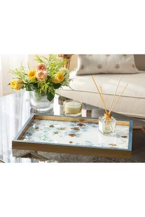 English Home Floret Cam Dekoratif Tepsi 31x46 Cm Mavi