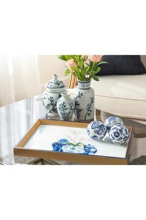 English Home Bleu Blanc Cam Dekoratif Tepsi 31x46 Cm Gold