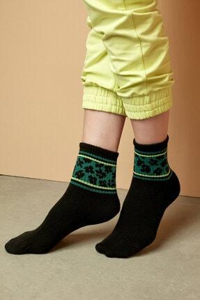 Penti Siyah Bu4u Logo Flower Soket Çorap