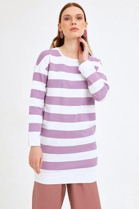 Fulla Moda Kadın Lila Kalın Çizgili Tunik