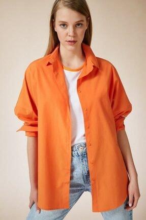 VOLT CLOTHİNG Kadın Oranj Oversize Uzun Basic Gömlek