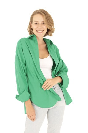 Modagusto Koyu Yeşil Oversize Uzun Basic Gömlek