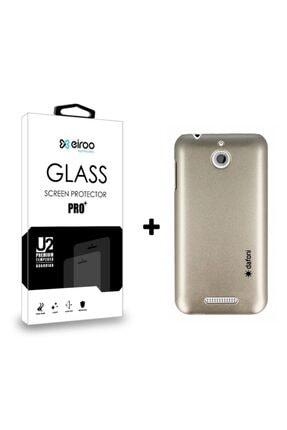 MobilCadde Dafoni Htc Desire 510 Uyumlu Gold Kılıf Ve Eiroo Cam Ekran Koruyucu Seti