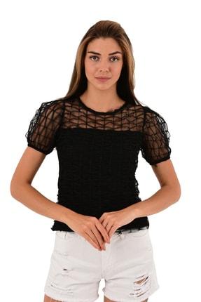 Modagusto Transparan Detaylı Siyah Bluz