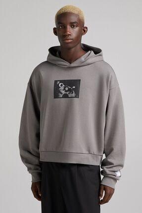 Bershka Baskılı Kapüşonlu Sweatshirt