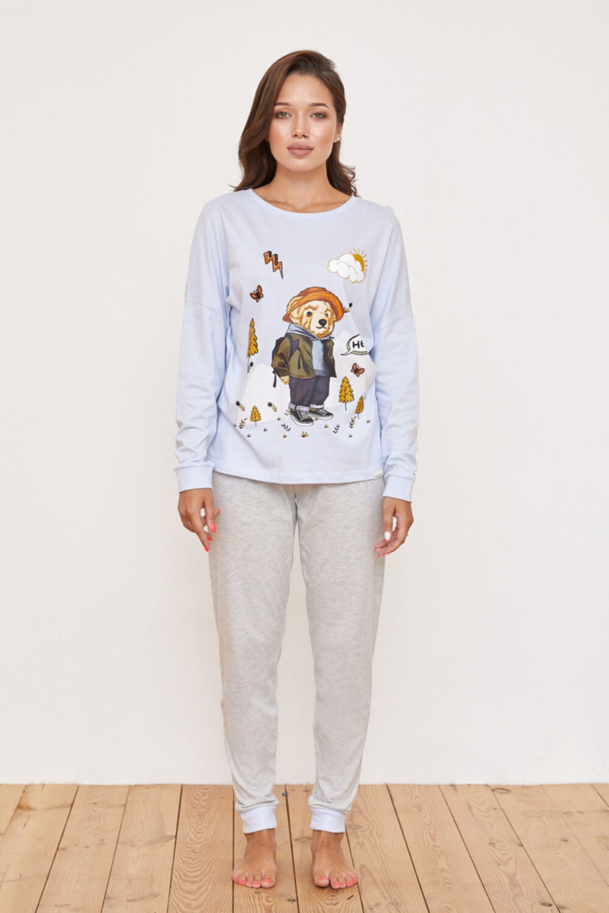 Katia&Bony Kampa Giden Teddy Bear Baskılı Kadın Pijama Takımı - Lila 1