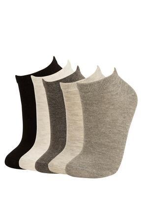 DeFacto Kadın Gri Patik Çorap 5'Li V5136AZ21AUGR