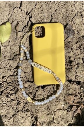 Selin Incili Ve Ahşap Harf Boncuklu Bilekten Telefon Askısı Charm