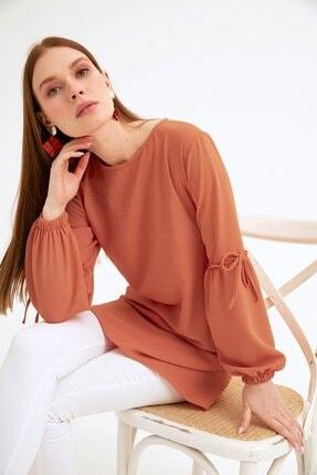 Fulla Moda Kadın Turuncu Balon Kol Tunik