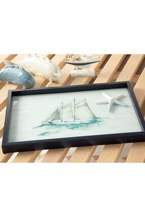 English Home Marine Cam Dekoratif Tepsi 31x46 Cm Lacivert
