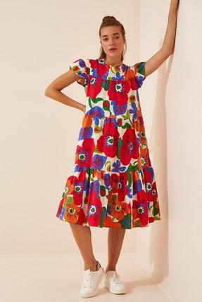 Happiness İst. Kadın Kırmızı Çiçekli Yazlık Poplin Elbise FN02831
