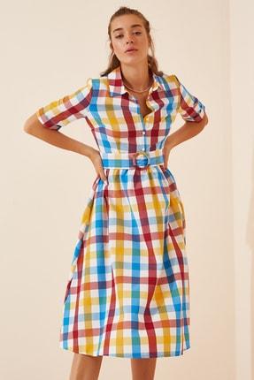Happiness İst. Kadın Mavi Kemerli Gömlek Elbise  FN02853