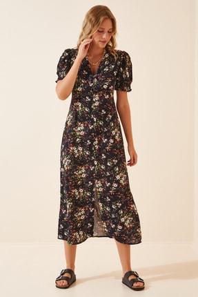 Happiness İst. Kadın Siyah Çiçekli Yazlık Viskon Elbise  FN02840