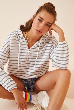 Happiness İst. Kadın Gri Beyaz Fermuarlı Kapüşonlu Mevsimlik Sweatshirt ZV00137