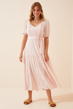 Happiness İst. Kadın Açık Pembe Kalp Yakalı Yazlık Pamuklu Elbise LR00010