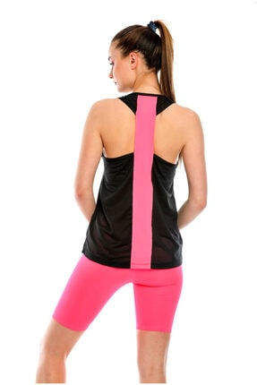 MODANTY Kadın Sporcu Biker & Atlet File Detaylı Siyah Pembe 2 Li Takım 6134503