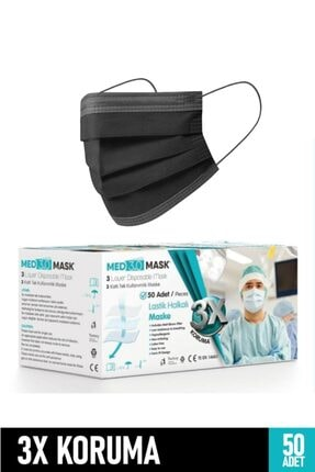MED3.0 MASK 3 Katlı Halka Lastikli Telli Medikal Maske- Siyah -