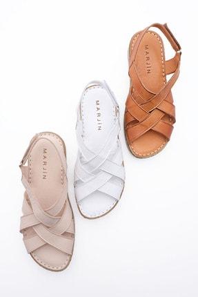 Marjin Kadın Hakiki Deri Sandalet Foleta Beyaz