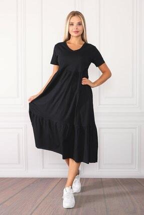 twentyone Kadın Siyah Geniş Kesim V Yaka Maxi Elbise