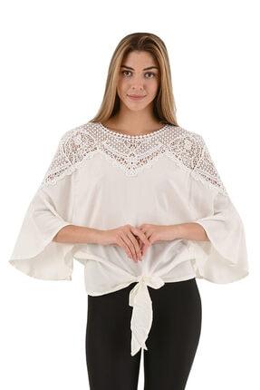 Modagusto Beyaz Önden Bağlamalı Dantel Detaylı Bluz