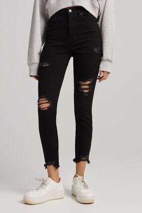 Bershka Distressed Süper Yüksek Bel Skinny Fit Jean