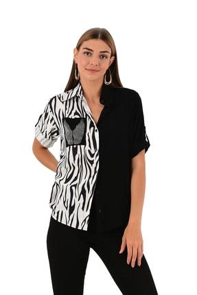 Modagusto Zebra Desenli Siyah Gömlek
