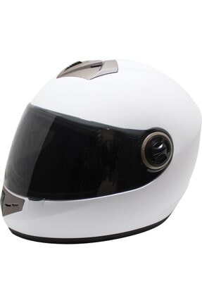 Free-M Fr-012 Full Face Motorsiklet Kaskı Beyaz ( Siyah Vizörlü )