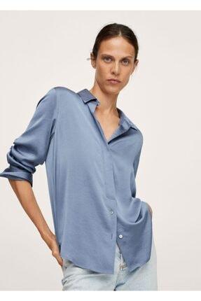 MANGO Woman Kadın Mavi Saten Yüzeyli Dökümlü Gömlek