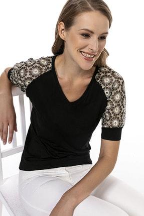 Modagusto V Yakalı Çiçek Dantel Detaylı Bluz