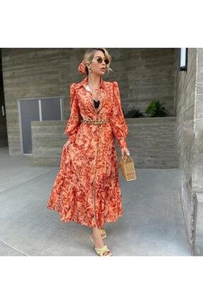 ASMİNAS STORE Kadın Elbise Nar Çiçeği Havaii