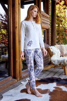 Berrak Kadın Pijama Takımı Pamuklu Mavi Beyaz