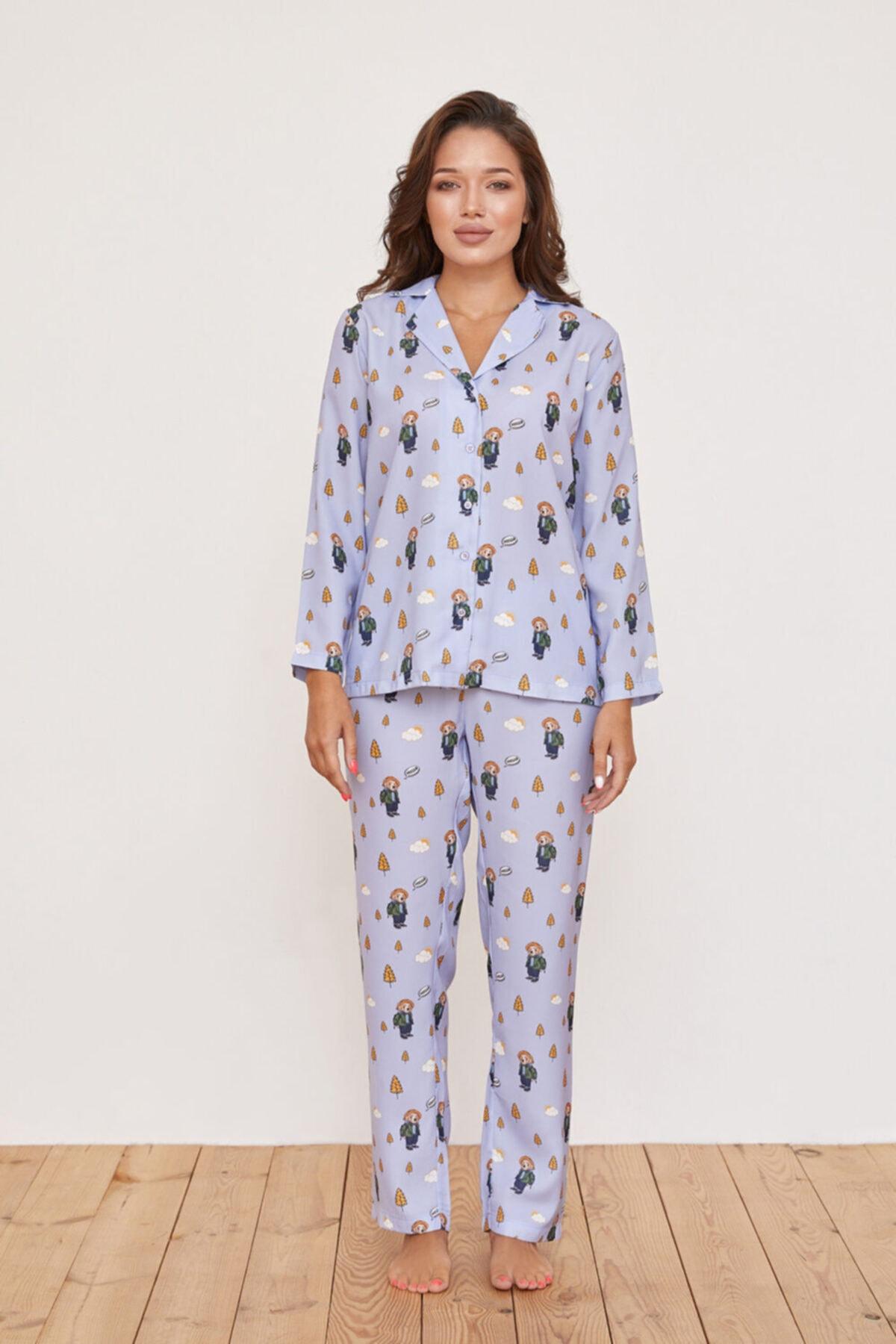 Katia&Bony Hello Camping Teddy Bear Baskılı Ipek Saten Apreli Kadın Pijama Takımı - Lila 2