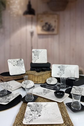 Keramika Lotus 29 Parça 6 Kişilik Siera Kahvaltı Takımı Siyah