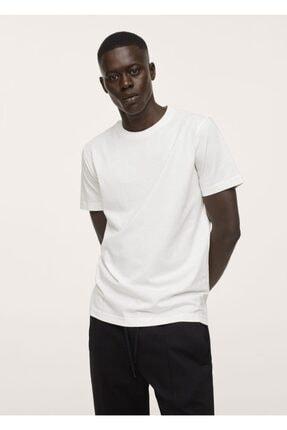 MANGO Man Erkek Kırık Beyaz Sürdürülebilir Pamuklu Basic Tişört