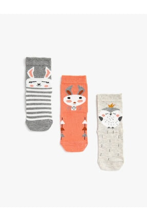 Koton Kiz Çocuk Hayvan Desenli Pamuklu 3'lü Soket Çorap