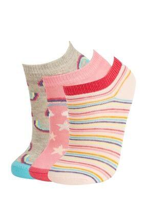 DeFacto Kız Çocuk Unicorn Desenli 3'lü Patik Çorap