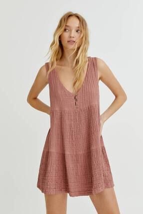 Pull & Bear Rustik Kumaşlı Kolsuz Elbise