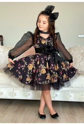 Riccotarz Kız Çocuk Black Flowers Tütülü Elbise