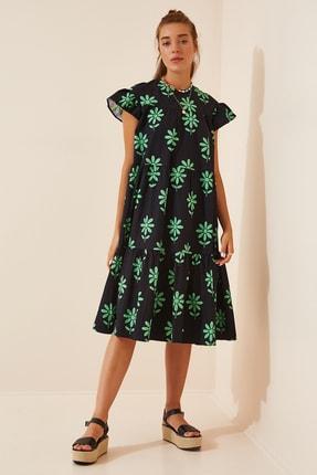 Happiness İst. Kadın Siyah Çiçekli Yazlık Poplin Elbise FN02831