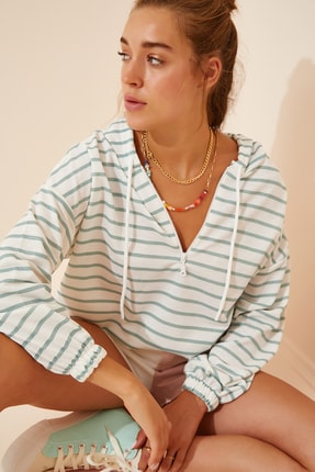 Happiness İst. Kadın Yeşil Beyaz Fermuarlı Kapüşonlu Mevsimlik Sweatshirt ZV00137
