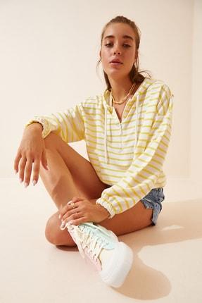 Happiness İst. Kadın Sarı Beyaz Fermuarlı Kapüşonlu Mevsimlik Sweatshirt ZV00137