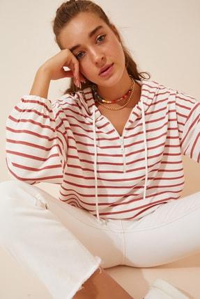 Happiness İst. Kadın Oranj Beyaz Fermuarlı Kapüşonlu Mevsimlik Sweatshirt ZV00137