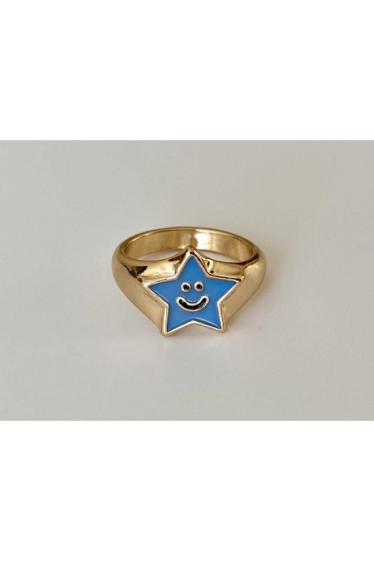 lesseffortless Mavi Yıldız Desenli Smiley Yüzük 1